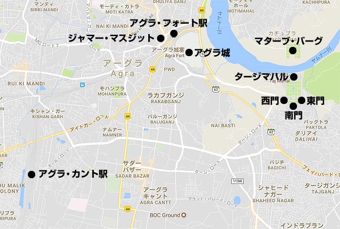 アグラ観光地図