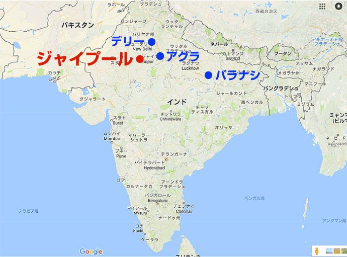 ジャイプールの地図